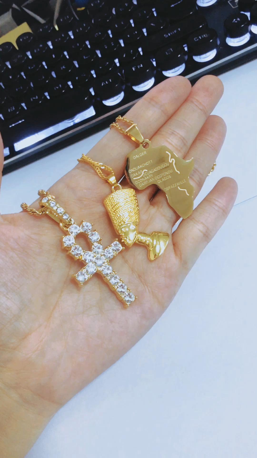 2020 Mode Liontin Kepala Firaun Mesir Perhiasan Kostum Pelat Emas Kalung Tema Fatima Mesir