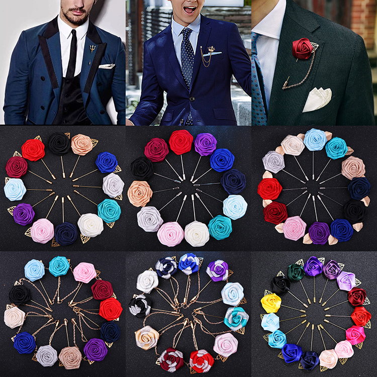 Mens Suit Fashion Rose Solid Fabric Women Floral Lapel Brooches Pins