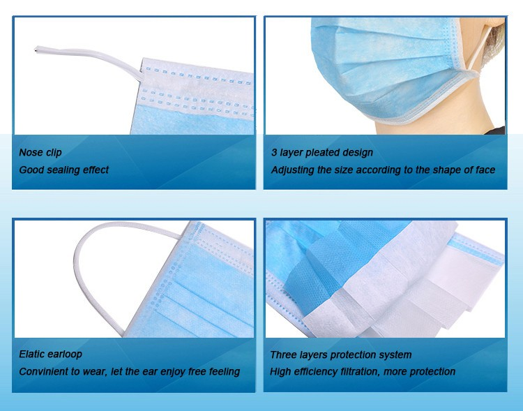 2000 pcs per carton 3ply medical disposable earloop face mask with CE FDA BFE>95%
