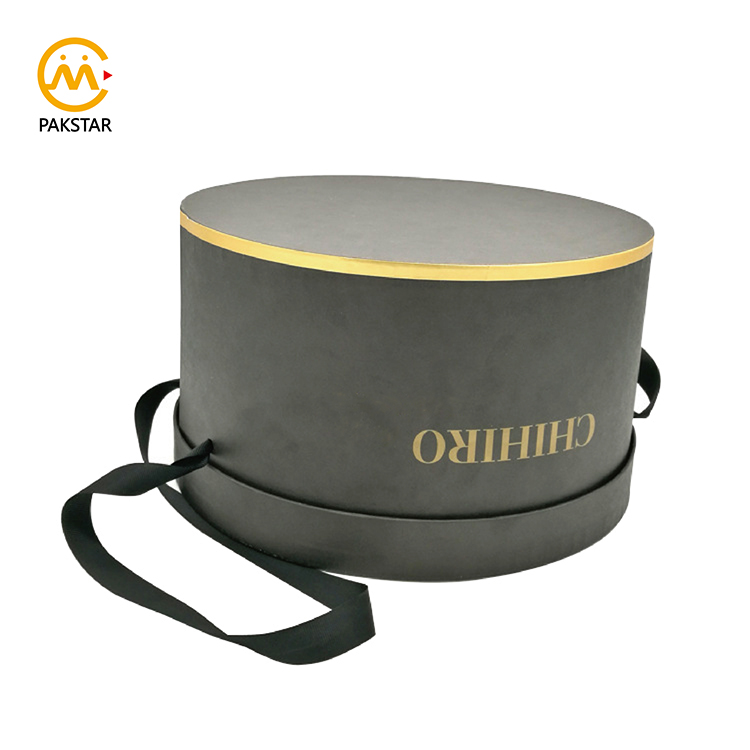 Custom extra large size black cardboard round hat packaging box with handle