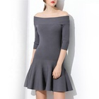 Ladies casual off shoulder knitted sweater dress