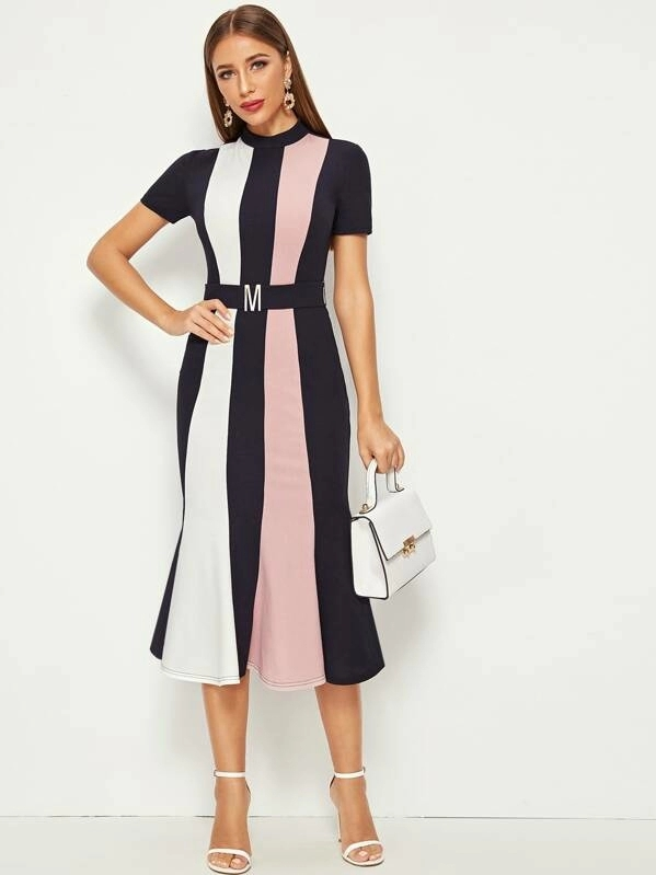 KY boutique Ruffles Hem Stand Collar Hook And Eye Detail Belted Colorblock evening dress