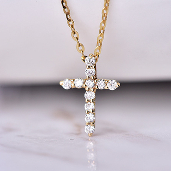 18K Solid Gold Real Diamond Cross Pendant Gold Necklace for Women