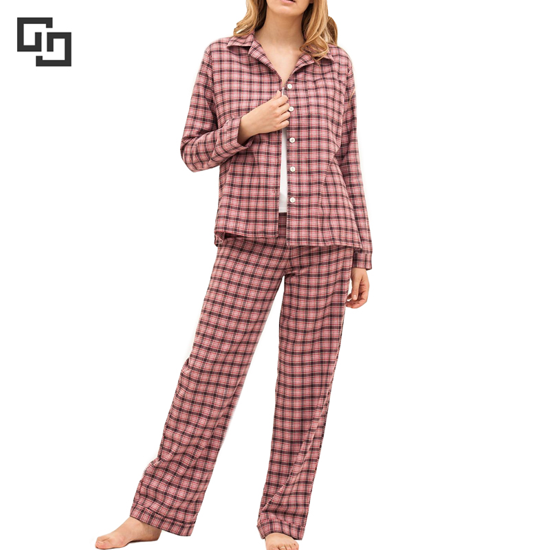 Custom Women Plaid Brushed Cotton Flannel Pyjama Set for Winter