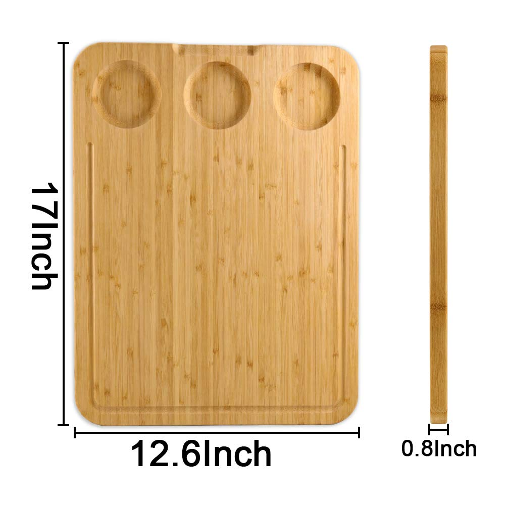 Extra Large Reversible Bamboo Cutting Board with Built-In Compartments and Juice Grooves