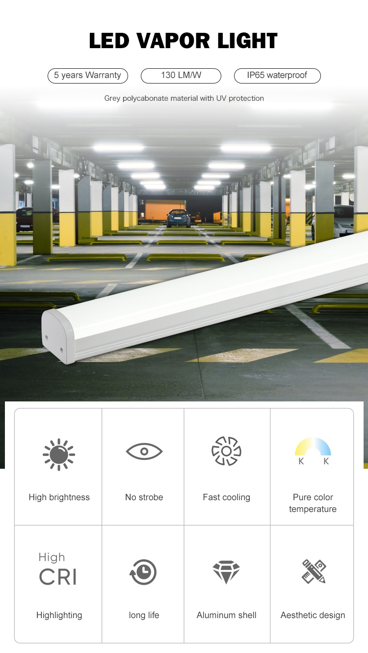 Halcon library hotel linear waterproof ip65 4ft 8ft 36w 60w led slim vapor tight