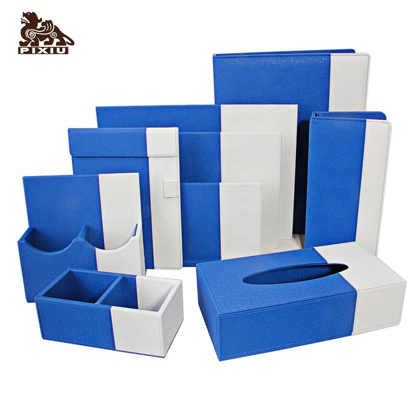 Manufacture luxury saffiano pu leather custom brand office desk set hotel amenity