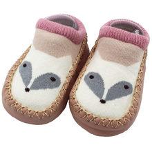 Нескользящие носки с рисунком лисы для маленьких девочек и мальчиков; Модная обувь для новорожденных; Милые вязаные теплые носки-тапочки; ...(China)