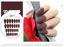 28 шт. накладные ногти длинные острые ношение Маникюр матовая палка на ногти дизайн ногтей пресс на ногти Прямая поставка(Китай)