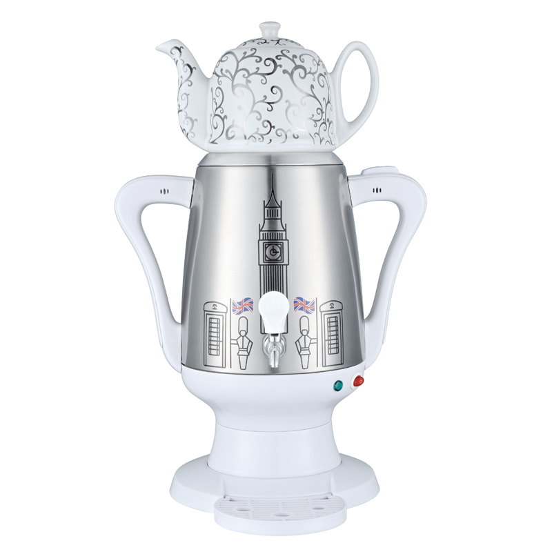 3.5L Stainless steel Luxury White color Electric Turkish tea maker Russian Samovar water kettle with flower painted