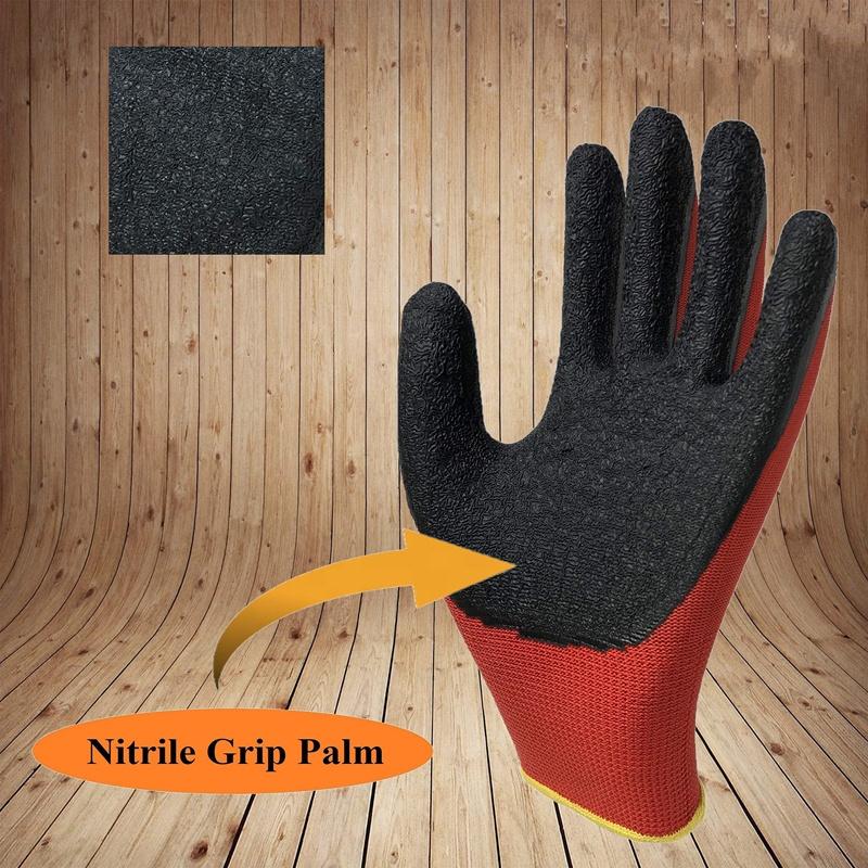 Нескользящие красные нейлоновые вязаные резиновые перчатки с покрытием ладони, защитные рабочие перчатки из латекса