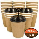 12oz 100 Packs Custom Accept Hot Drink Disposable Paper Coffee Cups with lids