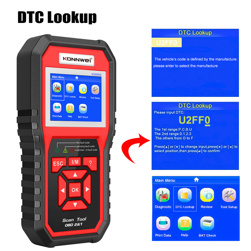 2020 New Year  Cheap car fault tester diagnosis 12v obd2 connect car diagnostic scanner KW850 KONNWEI with battery test function