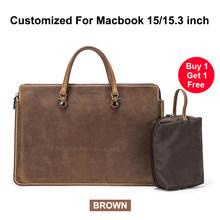 """Ретро сумка для ноутбука из натуральной кожи, чехол для MacBook Pro 15 """", сумка для ноутбука, сумка для ноутбука Surface book 15"""", huawei Matebook 15""""(Китай)"""
