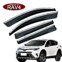 4Pcs Acrylic+Stainless steel car window rain-shield sun shade window visor applicable to TOYOTA RAV4