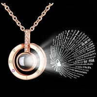Memory Of Love Valentine's Day Gifts Necklace S925 Rose Gold 100 Languages I Love You Projection Necklace