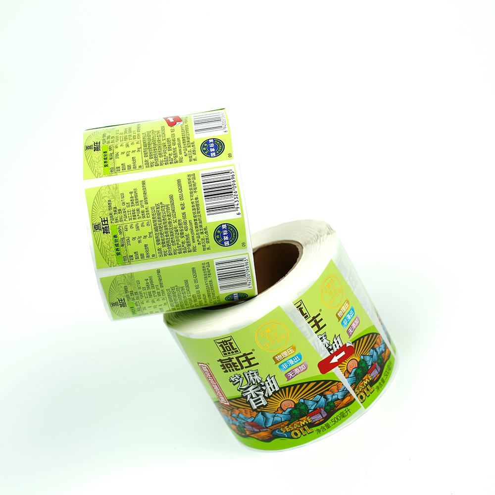 custom glossy laminated adhesive paper labels roll printing sticker for food containers packaging