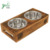 Wood Elevated Dog and Cat Pet Feeder Feeding Bowl Double Bowl Raised Stand Comes with Paw and Bone Motifs