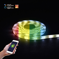 12V DC Double PCB Controller Light LED Strip Flexible, App Dimmable 5m/roll IP20 5050 Wifi Smart RGB LED Strip