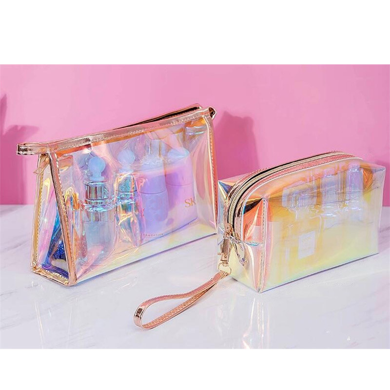 product-2020 new 1 Pc Colorful Holographic Women Cosmetic Bag TPU Clear Makeup Bag Beauty Organizer -1