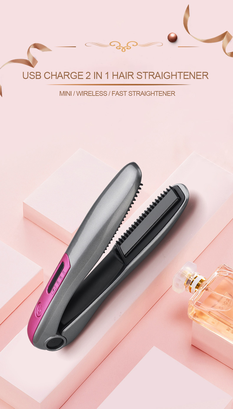 Mini Rechargeable cordless new flat iron ceramic travel USB portable hair straightener with teeth