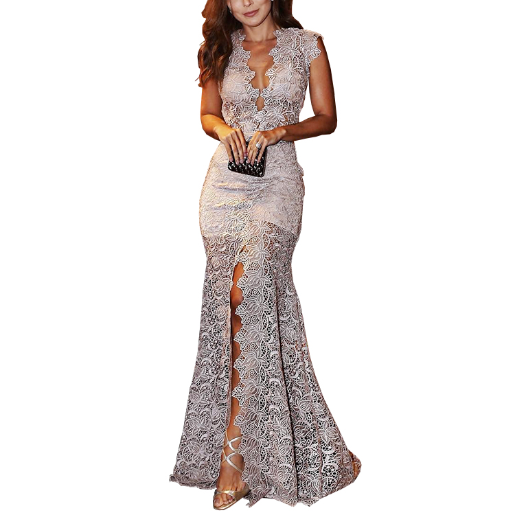 Nuevos vestidos de mujer vestido de noche largo de encaje con escote en V profundo