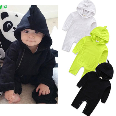 newborn <strong>baby</strong> romper cotton plain infant toddler one-piece clothing dinosaur hooded design <strong>baby</strong> <strong>jumpsuit</strong>