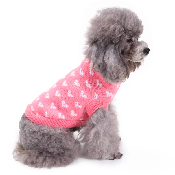 Wholesale Size XS-XXL New Fashion Pink Dog Sweater Lovely White Hearts Pet Clothes Jumper