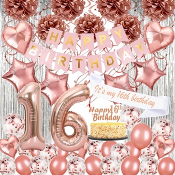 Enjoyable Rose Gold Happy Birthday Decorations Sweet 16 Glitter Birthday Kit Funny Birthday Cards Online Kookostrdamsfinfo
