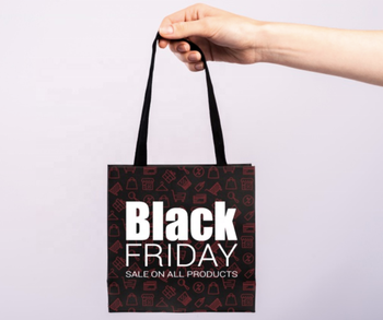 Recycled custom packaging promotional ad printing shopping bag for retail shop Black Friday shopping paper bag