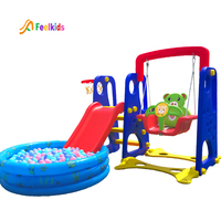 Hot sale plastic children toys kids baby indoor slide with swing set
