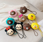 Cute Cartoon Silicone Mini Coin Purse Headphones Storage Key wallets Bag