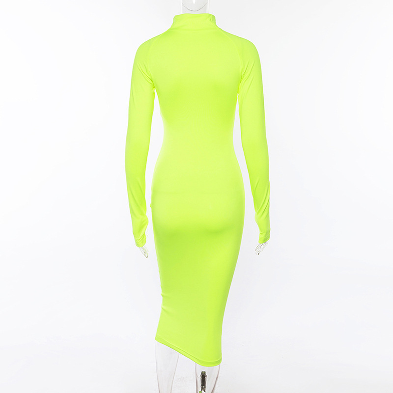 Autumn Fashion Neon Pink Sexy Women Long Sleeve Bodycon Dress Half Open Zip Collar Straight Solid long Dress