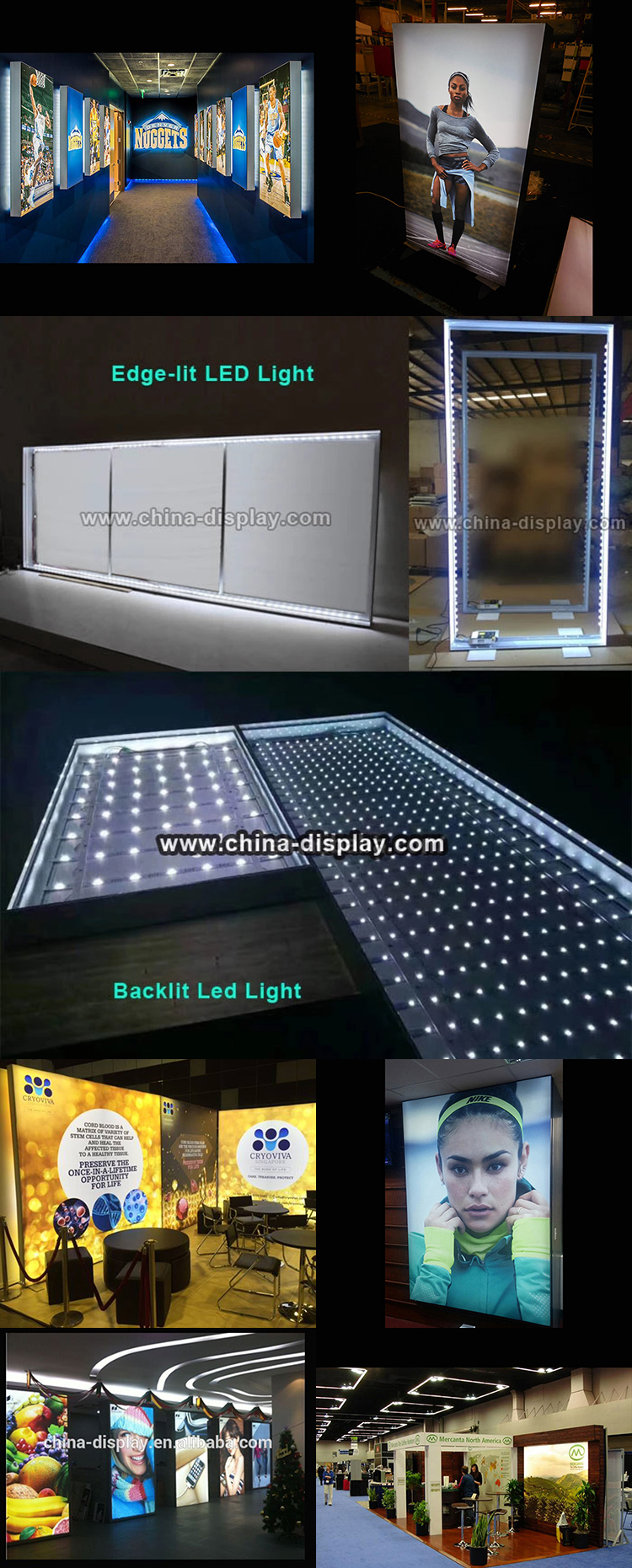 8ft 10ft tamanho OEM Tecido Trade Show Pop Up Banner Lightbox Display Led Backlit Portátil