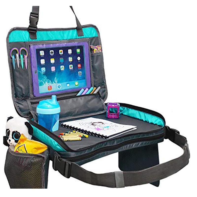 Desmontable 4 en 1 niños bandeja de viaje de almacenamiento de coche organizador del asiento de coche bandeja de juguetes bolsa y jugar titular de la tableta