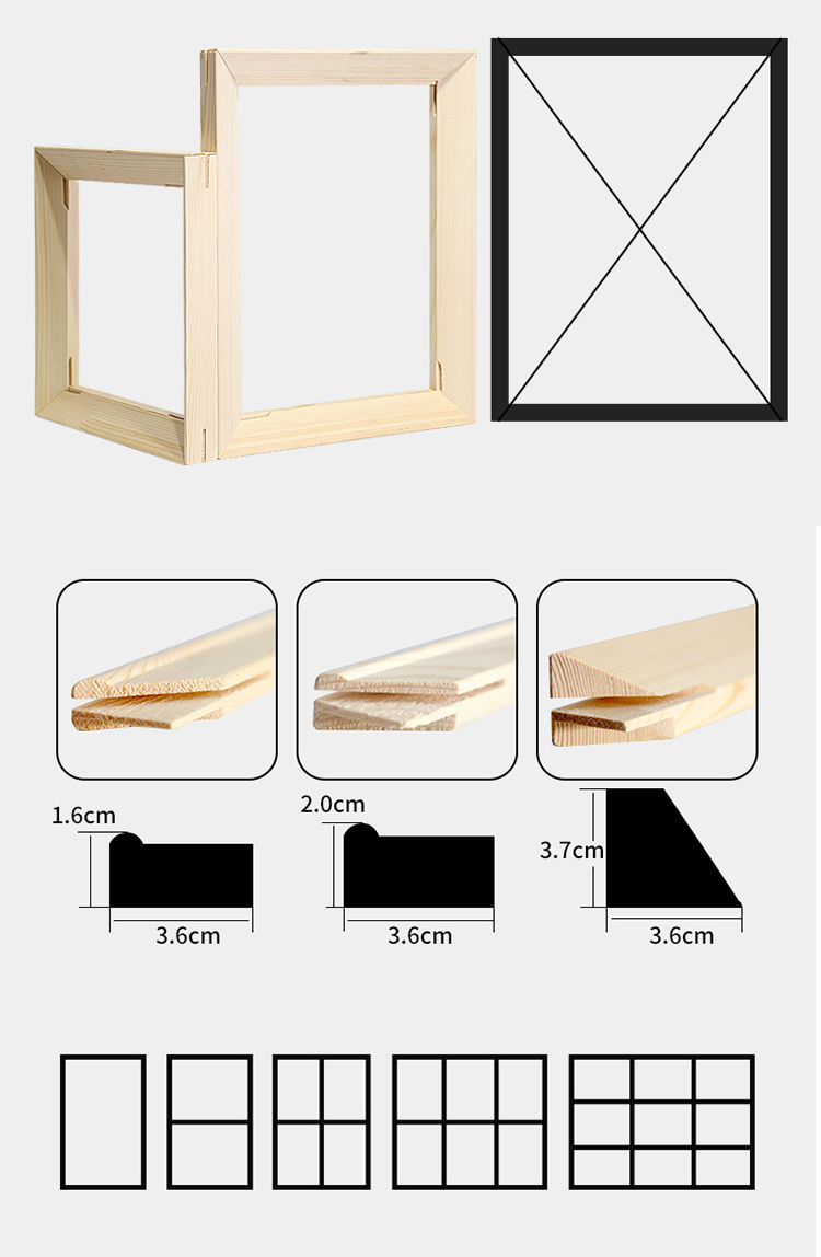 wholesale cheap pine wood gallery canvas stretcher bar inner frame