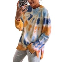 Autumn and winter long-sleeved women's new explosive round neck casual loose tie dye sweater women