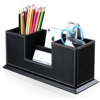 Double Holder Leather Multi-Function Desk Stationery Organizer Pen Pencil Holder Black