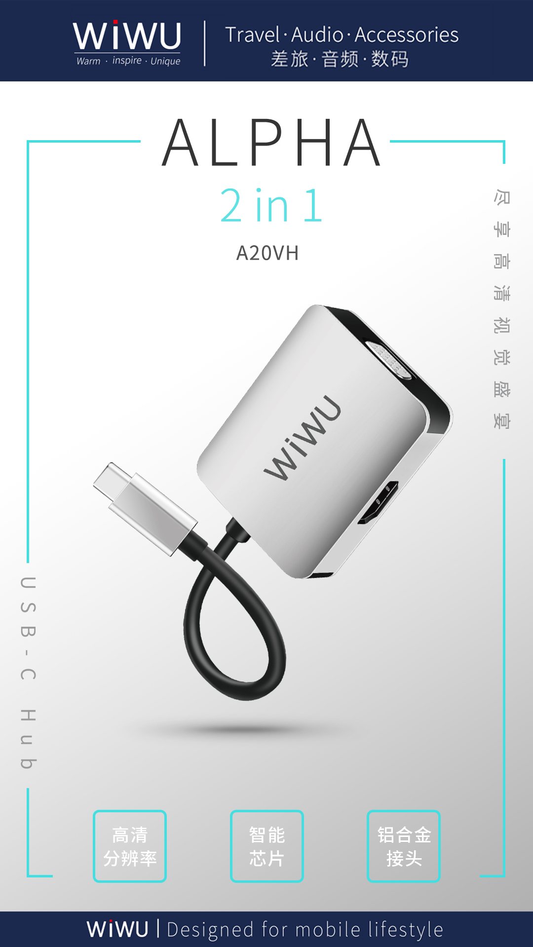 WiUW Alpha A20VH Type-C TO HDMI VGA ADAPTER