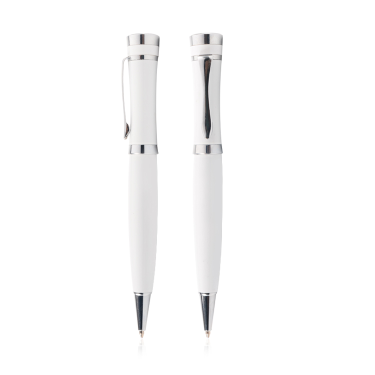 New Corporative Pen White Color Metal Ballpoint Pen High Quality Thick Gift Pen for Business Promotion Boligrafo