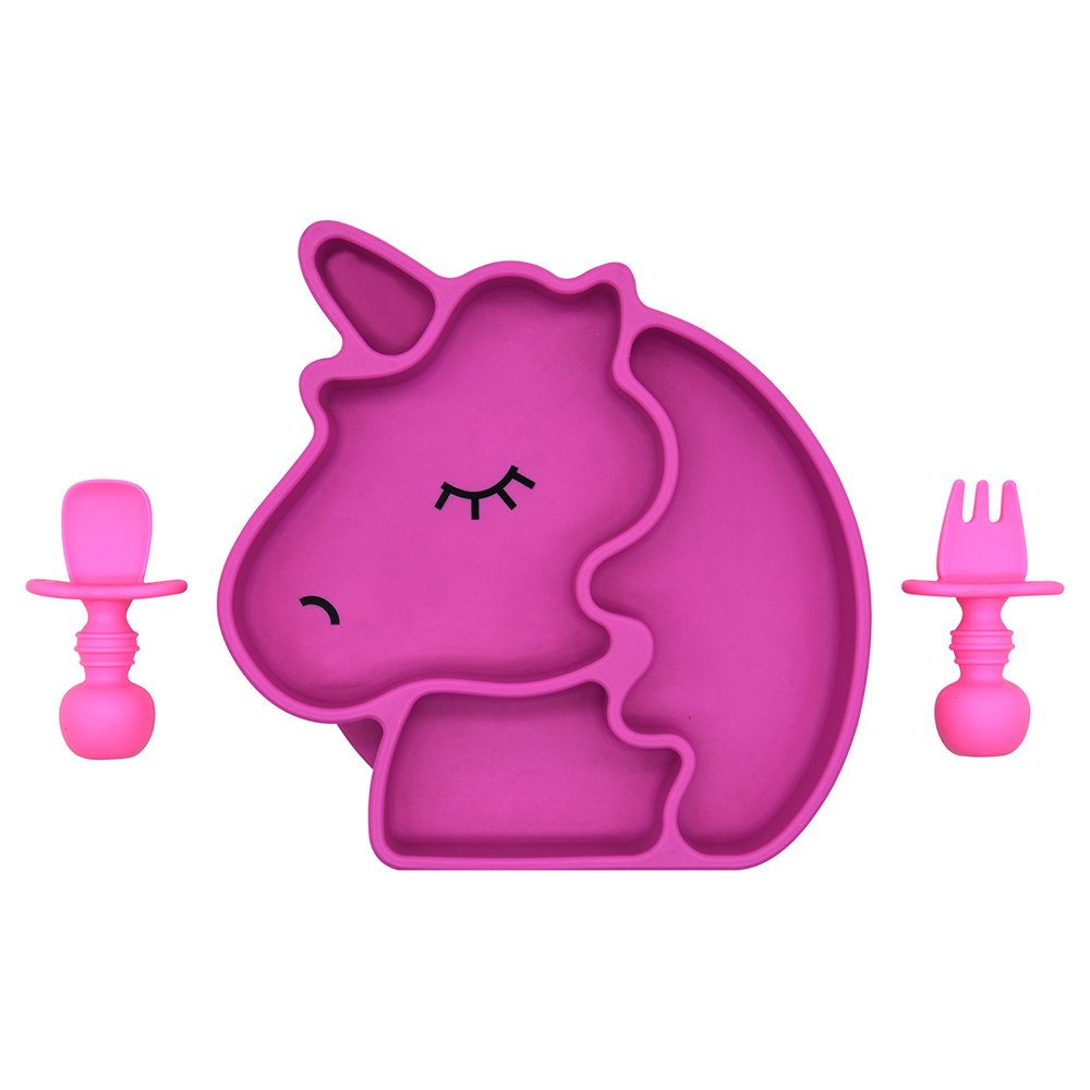 BHD BPA free Eco-friendly Stay Put Toddler Dishes Cute Animal Unicorn Shape Silicone Suction <strong>Plate</strong> for Babies