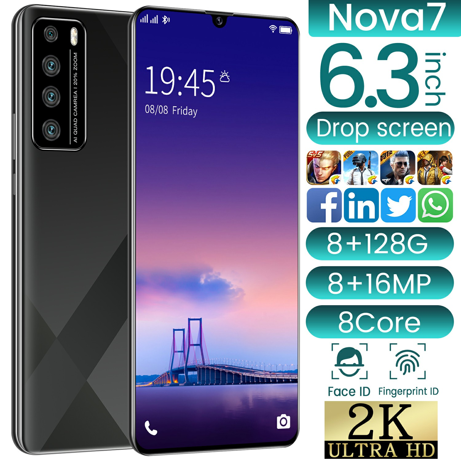 wholesale cheap smart phone nova7 android mobile phone Quad core Gradient body Factory Outlet oem low price china phone
