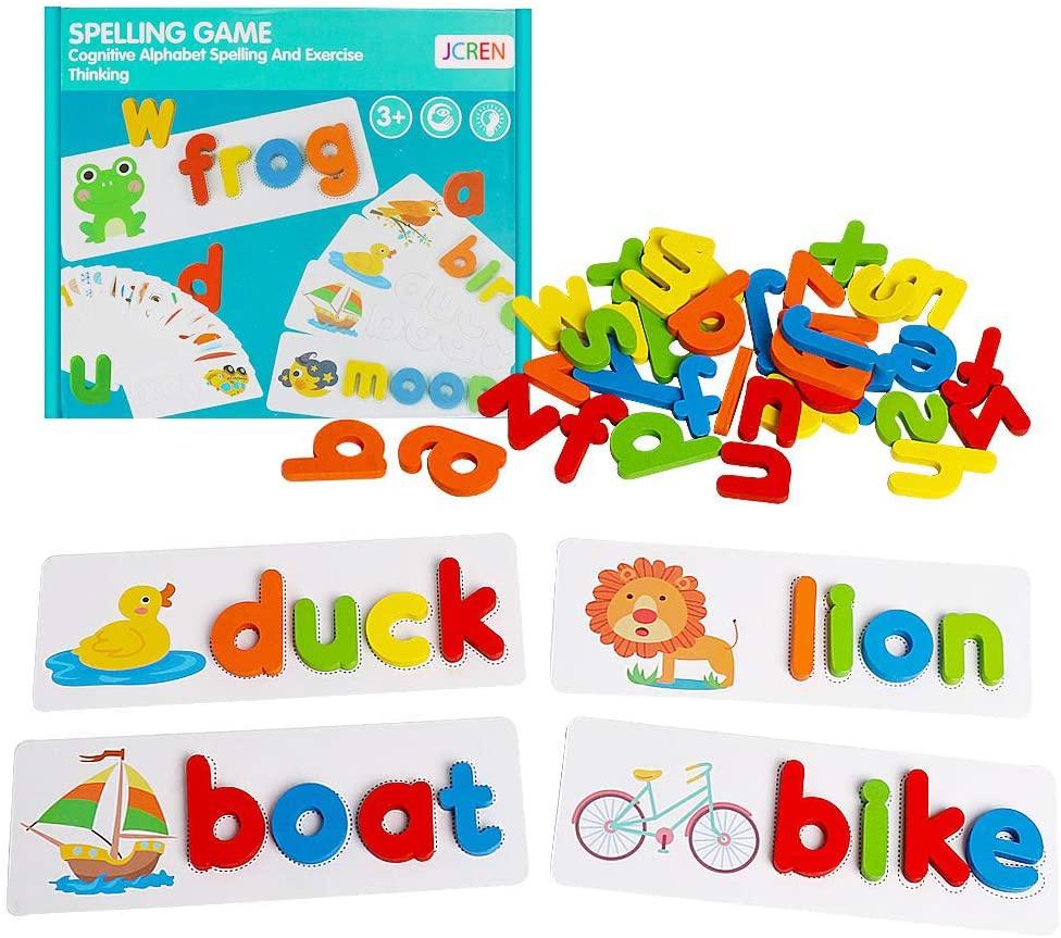 אמזון מכירה לוהטת מונטסורי למידה איות מילות האלפבית צעצועים חינוכיים עץ מכתב מילות התאמה חידות משחקים לילדים