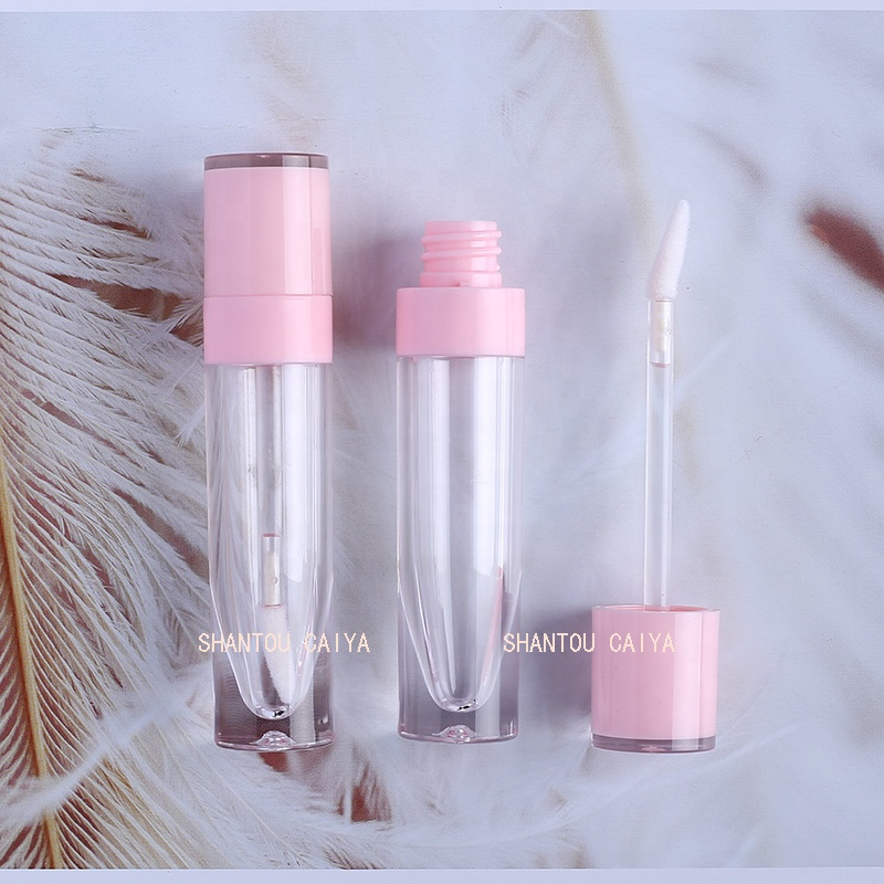 Unique pink white cylinder round clear lip gloss tubes containers