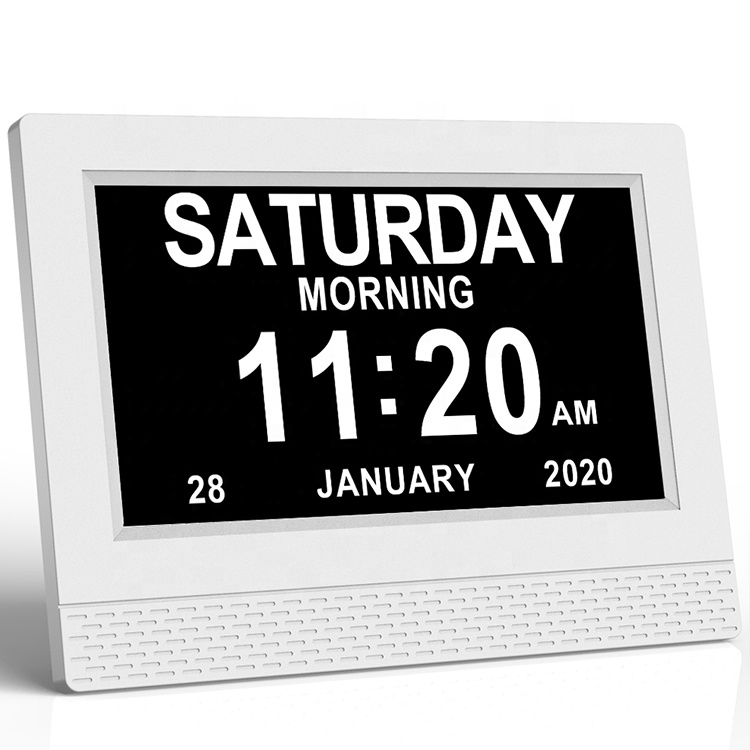7inch Large Simple Display White Font With Medication Reminder Digital Calendar Alarm Clock For Dementia