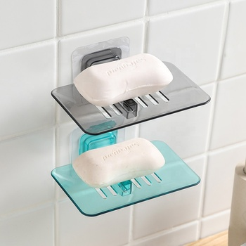 Creative free punching wall mounted soap rack plastic bathroom hanging soap holder
