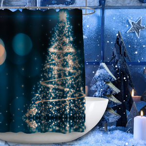 Christmas LED waterproof custom thick shower curtain