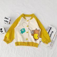 WLG 2019 куртка для малышей Детское осенне-весеннее синее однобортное пальто детская повседневная универсальная одежда для детей(Китай)