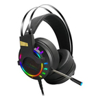 Newest Arrived Virtual 7.1 Leather Earmuff RGB Light Wired Gaming Headphones Gaming Wired For Electronic Gamer OEM