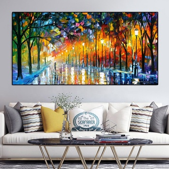 Romantic Canvas Painting Landscape Walking In Rain Road Palette Knife Oil Paintings